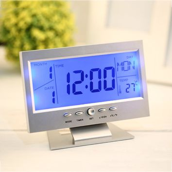 Voice Control Back-light LCD Alarm Clock Weather Monitor Calendar With Timer Sound Sensor Temperature Desktop Table Clock Hot