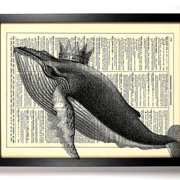 Whale King,  Vintage Illustration, Eco Friendly Home, Kitchen, Bathroom, Nursery Decor, Dictionary Book Print Buy 2 Get 1 FREE