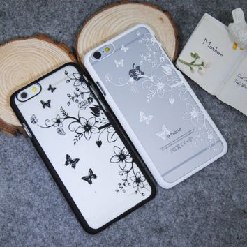 Fashion butterfly flower mobile phone case for iphone 5 5s SE 6 6s 6Plus 6S Plus+ Nice gift box!