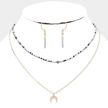 Crescent Moon Pendant Beaded Layered Necklace