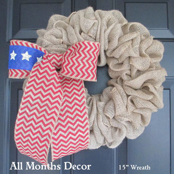 15 Inch Patriotic Burlap Wreath with American Flag Chevron Bow, Memorial, Independence Day 4th of July, Military, Rustic Door Porch