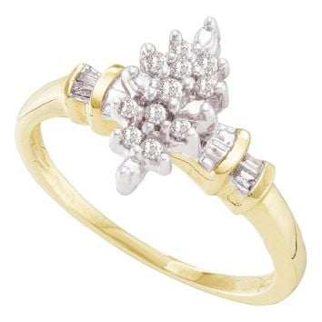 10kt Yellow Gold Womens Round Prong-set Diamond Marquise-shape Cluster Ring 1/6 Cttw