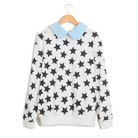 Black Contrast Lapel Long Sleeve Stars Print Sweatshirt