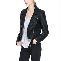 Black Biker Leather Jacket with Belt