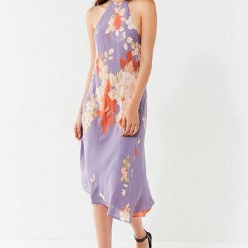 CREY4XG UO Blooming Asymmetrical Hem Midi Dress | Urban Outfitters