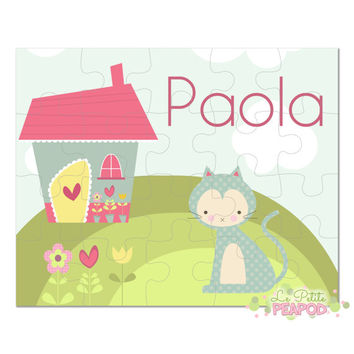 "Kitty Puzzle - Personalized 8"" x 10"" Puzzle - 20 or 100 pieces - Miss Kitty Design - Personalized Name Puzzle"