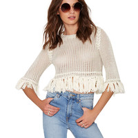 White Tassel Fringed Knitted Cropped Top