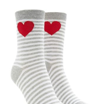 Heart Striped Crew Socks