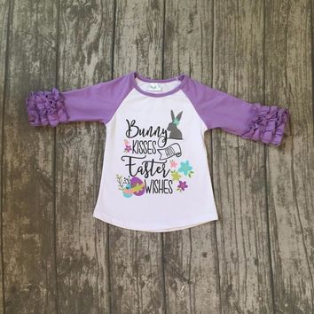 new arrival Easter baby girls print bunny kisses wishes lavender cotton boutique top T-shirt raglan clothing floral ruffles kids