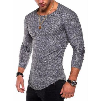 PEAPFS2 2018 new Fashion Men's Slim Fit Knitted cotton Long Sleeve Muscle Tee T-shirt Casual Tops casual men skinny solid pullover top