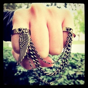 Guardian Angel  double finger chain ring by KaringIsShering