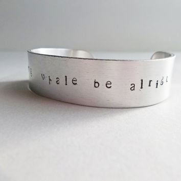 Everything Whale Be Alright, whale, Aluminum Jewelry, Metal Stamped Jewelry, Quote Jewelry, Pun, everything will be ok,Cute Gift For Her