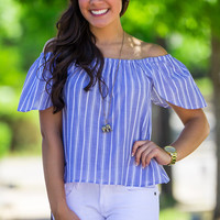 The Ins And Outs Top-Blue – Simply Dixie Boutique