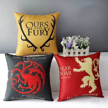 Game of Thrones Home Decorative Cushion Fire and Blood Targaryen Stark Family  Dragon Badge Print Sofa Linen Throw Pillows