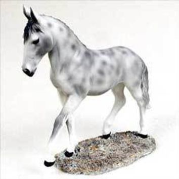 DAPPLE GRAY HORSE WALKING & TROTTING FIGURINE