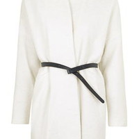 Belted Wool Blend Coat - White