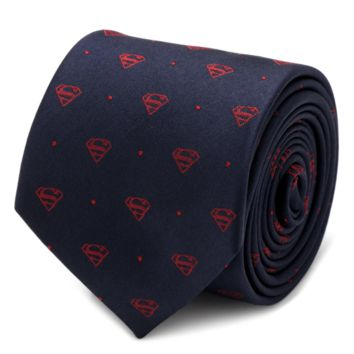 Superman Shield Navy and Red Dot Tie BY DC COMICS