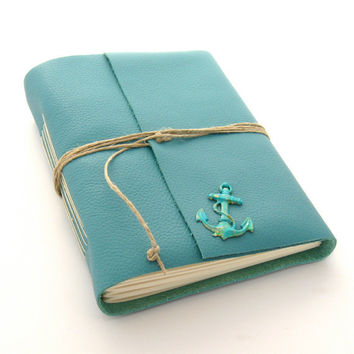 Nautical Leather Journal and Sketchbook, A Seafarer's Journal With a Hand Painted Anchor