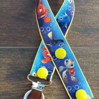 Finding Nemo Pacifier Clip/Finding Nemo Paci Clip/Nemo Toy Clip/Nemo Teething Ring Holder/Dori/Crush/Nemo Baby/Disney Baby/