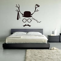 Wall decal decor decals art face love hipseter hat butterfly mustache tie horns glasses (m1010)