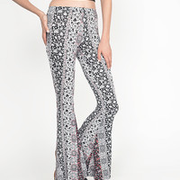 Monochromatic Floral Flare Pants