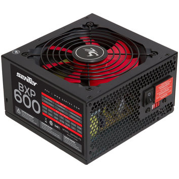 Bxp600-ps Pc Power Supply / 120 Mm Red Bearing Fan / ATX 2.2 / 115-230 V / Single Rail 12v / 1xpci-e+4xmolex+4sata Sentey® Red Fan Cooler / 70% Efficiency / Over Power Protection