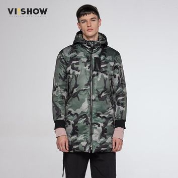 VIISHOW 2017 New Military Tactical Style Long Parka Jacket Men Windproof Warm Coat Camouflage Hooded Camo Army Clothing  MC30164