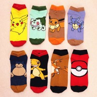 2018 summer and new Pikachu Pokemon lovers boat socks socks for men and women couple Funny cute personality fashion casual socks