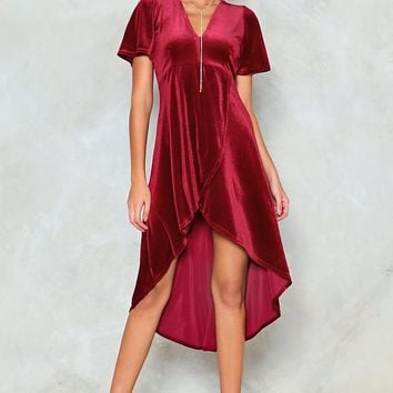 High Low Can You Go Velvet Dress