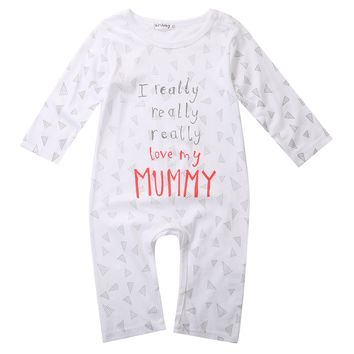 Newborn Baby Rompers Jumpers I love Mum Dad Cotton Boys Girls Sleepsuit