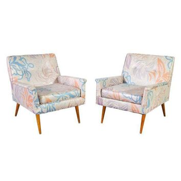 Pre-owned Mid-Century Armchairs in Pastel Floral Silk - Pair