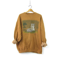 Vintage Leopard Sweatshirt Heavy Oversized Pullover Animal Print Sweater Chief Seattle Nature Sweatshirt Ochre Slouch Unisex Size XL XXL