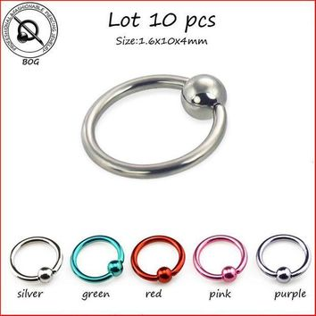 ac ICIKO2Q BOG-10pcs Surgical Steel Captive Bead Ring CBR Septum Nose Labret Lip Hoop Ear Tragus Cartilalge Piercing Ring 14g Body jewelry