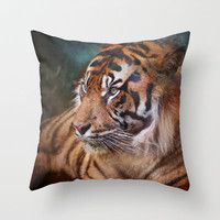 The mysterious eye of the tiger Throw Pillow by Guido Montañés