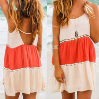 Summer Sexy Lace Stripes Patchwork Slip Dress Falbala Sundress = 5657653441