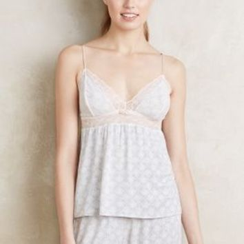 Eberjey Lace-Trimmed Cami in Light Grey Size: