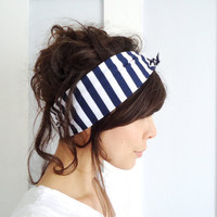 Tie Up Headscarf Navy and White Stripe by ChiChiDee on Etsy