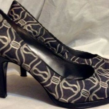 BANDOLINO stiletto Printed patterned brown tan HEELS CAREER PUMP shoes 7.5 M