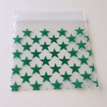 100 Green Print Star Design 2 x 2 (Small Plastic Baggies) 2020 Tiny Ziplock Bags, Mini Poly Bag