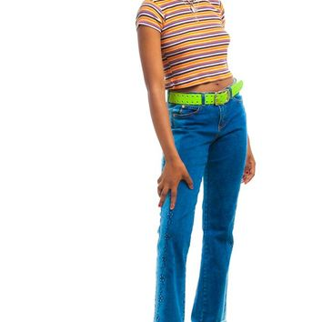 Vintage Y2K Daisy Chain Embroidered Flares - M/L