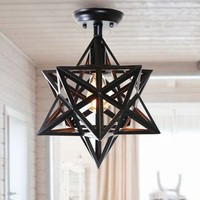 Warehouse of Tiffany Darkstar Antique Bronze 1-light Edison Geometric Ceiling Lamp with Bulb | Overstock.com Shopping - The Best Deals on Flush Mounts