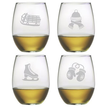Signs Of Winter Stemless Wine Glasses - Set of 4