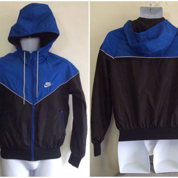 NIKE 80s BLUE Tag Jacket Vintage/ Mint Cond. Original Runners Warm Up Sports Nylon Jacket/ Nike Collector Hooded Breakdance Jacket Small