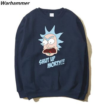 Rick And Morty Hoodies Men American Comics Fans Flecce Cotton Sweat Homme Long Sleeved O-neck Black Navy Blue 2XL Casual Hoodies