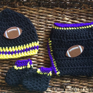 Crochet Baltimore Ravens Football Theme Baby Diaper Cover Beanie Gift Set