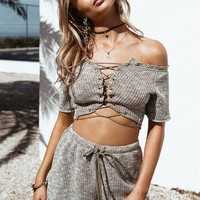 Pure Color Strapless Backless Crop Top with Shorts Two Pieces Set