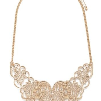 Etched Filigree Bib Necklace