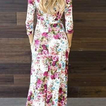 White Floral Draped Sashes V-neck 3/4 Sleeve Maxi Dress