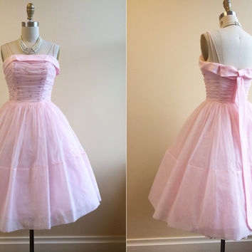 1950s Dress - Vintage 50s Dress - Pink Chiffon Rhinestones Party Prom Dress S - Patisserie