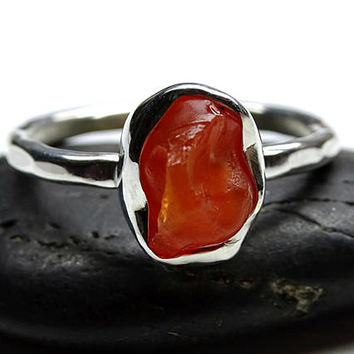 raw fire opal ring silver, opal engagement ring, uncut fire opal ring, organic stone ring silver, unique gift for her, raw opal ring flame